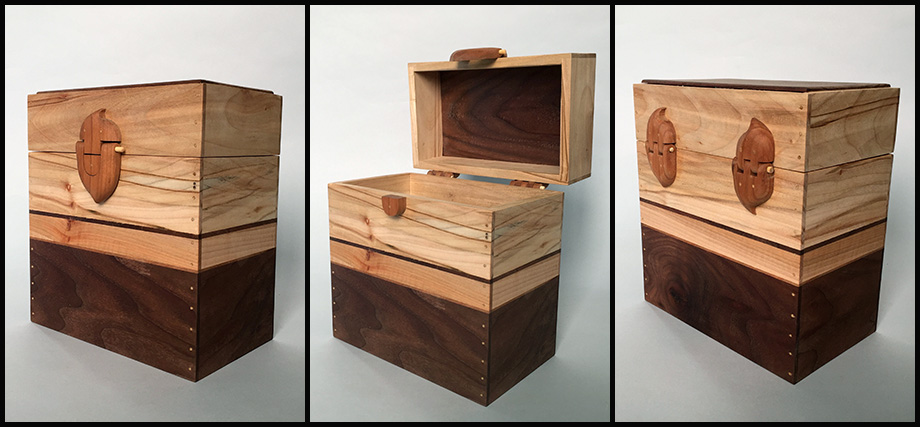 Z_Walnut-Cherry-Spalted Maple Keepsake Box with carved clasp and hinges